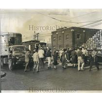 1952 Press Photo Street Cars South Bound Stockyard