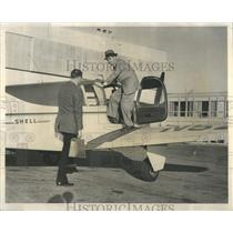 1955 Press Photo OHare Airport Skymotive Bonanza Plane