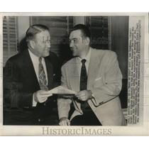 1951 Press Photo Red Sox manager Lou Boudreau with general manager Joe Cronin
