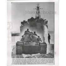 1962 Press Photo M48 Tank Assault-Hollywood Beach In Florida During Cuban Crisis