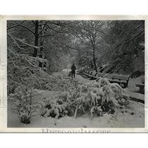 1944 Press Photo New York Snow storm covers Central Park in blanket of snow NYC