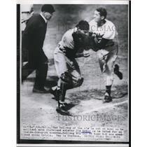1954 Press Photo A's Phil Billweg out at home vsIndian Jim Hegan.Ump is Stevens