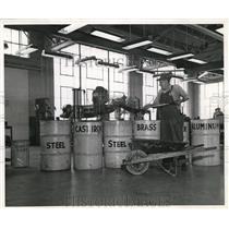 1944 Press Photo Drums Labeled Steel Cast Iron Brass & Aluminum Ravenna Ordnance