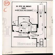 1964 Press Photo The diagram of the Dallas jail's basement - cvw04047
