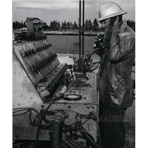 1956 Press Photo Capt. Jim Maguire, superintendent for Northwest Lift Slab Comp.