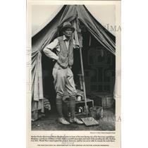 1988 Press Photo Hiram Bingham outside tent in Peruvian expeditions. - mjx21600