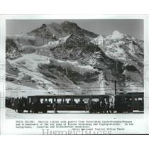 1963 Press Photo Shuttle Trains Take Guests From Interlaken to Ski Runs