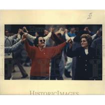 1990 Press Photo Spain People Dancing Sardana - fux00240