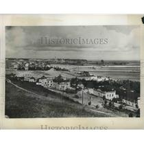 1939 Press Photo Aerial View of Town by Body of Water - fux00433