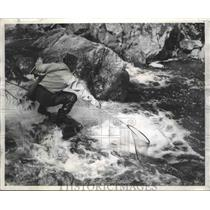 1956 Press Photo Laurentian Moountain Fisher, Quebec Springs, Canada - fux00455