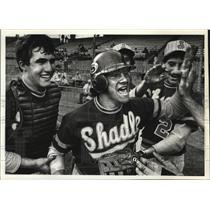 1983 Press Photo Shadle baseball center Vince Barranco celebrates with team