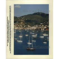 1995 Press Photo St. Thomas Harbor Seen From Deck of Sovereign of the Seas