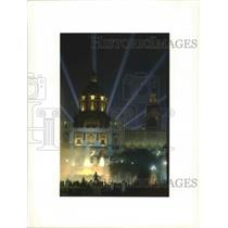 1992 Press Photo National Palace, Barcelona, Spain Laser Show during Olympics
