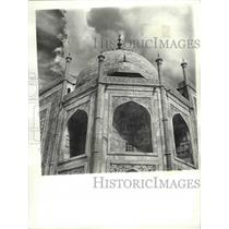 Press Photo One of the Recessed Arches with Latticed Windows of the Taj Mahl