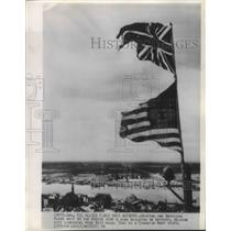 1955 Press Photo Antwerp, Belgium Allied British and American Flags - fux01119