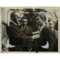 1926 Press Photo Calvin Coolidge Pins Gold Medal on Rifle Champion Samuel Moore