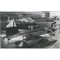 1957 Press Photo Rocket Missile Jet Plane Boeing Aircra