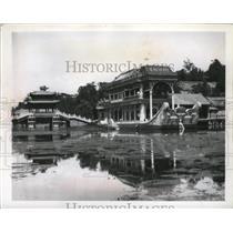 1960 Press Photo Barge made of marble set in lake near summer palace at Peiping