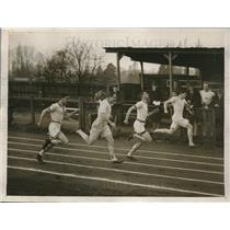 1928 Press Photo N. G. Stockton winning 100 Yard Dash, Oxford University