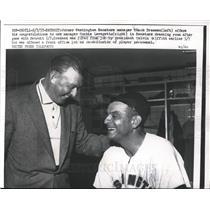 1957 Press Photo Senators' ex-mgr. Chuck Dressen with new mgr. Cookie Lavagetto