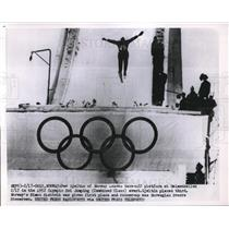 1952 Press Photo Par Gjeltin of Norway takes off during 1952 Olympic Ski Jumping