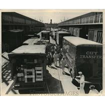1949 Press Photo Seattle, Washington Waterfront Freight Trucks - ftx00649