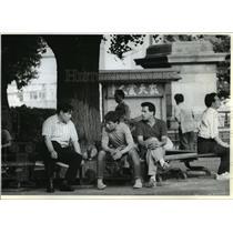 1992 Press Photo Iranian Youths in Ueno Park, Tokyo, Japan - ftx00548