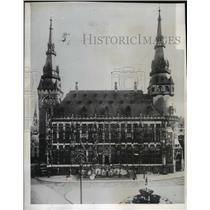 1944 Press Photo Aachen, Germany Historic City Hall - ftx00893