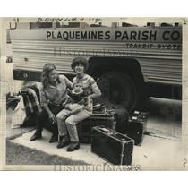 1969 Press Photo Hurricane Camille - Evacuees Mary, Rosemary & Mrs. John Thiel