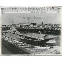 1947 Press Photo New Aircraft Carrie is 44-Feet Long & Christened at Naval Air