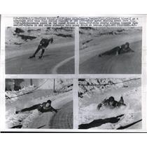 1959 Press Photo Hans Wilhelmeson fall in 1500 meter speed skate at Squaw Valley