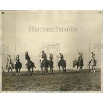 1955 Press Photo Hollywood Polo Girls & Beverly Hills Diana Parading Field