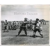 1955 Press Photo Japanese Army Bayonet Drills - ftx01399