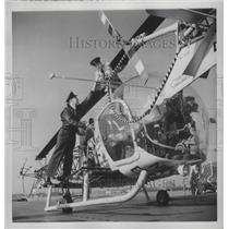1954 Press Photo Bell HTL-5 Helicopter Rotor on Icebreaker Atka Boston Harbor