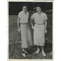 1937 Press Photo Marion Miley, Helen Hicks Women's National golf practice