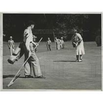 1938 Press Photo Estelle Lawson Page at Curtis Cup golf vs Mrs Andrew Holm