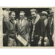 1928 Press Photo George Haldeman & Eddie Stinson Receive $5,000 Check as Prize