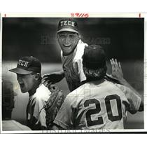 1986 Press Photo Louisiana Tech Baseball - Jeff Richardson, S. Moore & D. Ortman