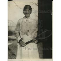 1924 Press Photo Lillian Scharman at 17th National tennis vs Mrs W Endicott