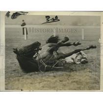 1927 Press Photo Hobgoblin and rider W. Dale fall at Thames Handicap Race
