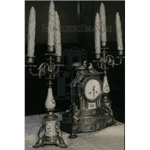 1931 Press Photo Clock and Candelabras owned Gov Cass