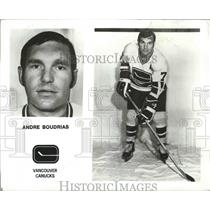 1973 Press Photo Vancouver Canucks hockey player, Andre Boudrias - sps00278