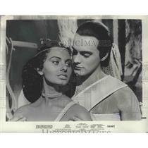 "1955 Press Photo Actors Sophia Loren, Luciano Della Marra in ""Aida"" Movie"