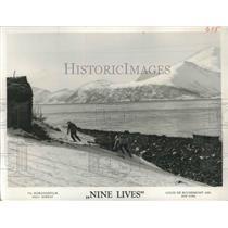 """1959 Press Photo Norwegian Scenery in """"Nine Lives"""" Jan Baalsrud Movie"""