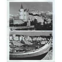1982 Press Photo Alcazar, Segovia, Spain and Nazare Portuguese Fishing Village