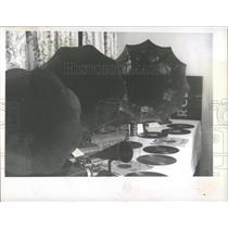1970 Press Photo Old recent Players Room Table CD Sound