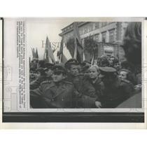 Press Photo Prague Castle Demonstration Czechoslovakia