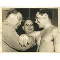 1937 Press Photo Jack Sharkey Jr Shown Getting Pointers From His Dad - sbs01928