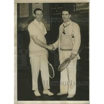 "1929 Press Photo William ""Aydelotte Defeated Tennis Title Holder Jean Borotra"