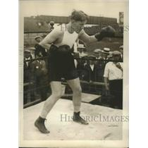 1928 Press Photo Ace Hudkins Preparing for Coming Fight with Micky Walker